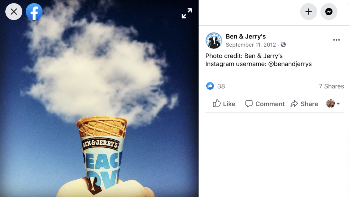 Instagram for marketing locally - Ben & Jerry's